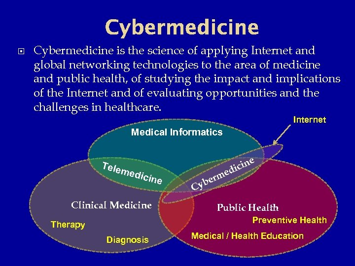 Cybermedicine is the science of applying Internet and global networking technologies to the area