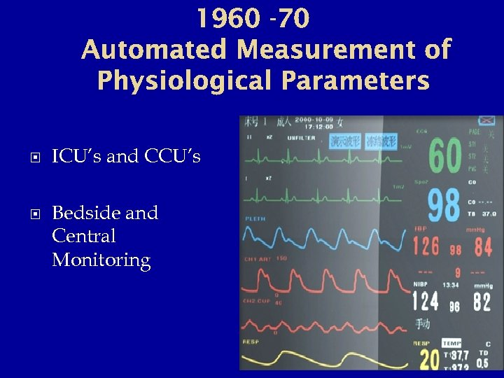 1960 -70 Automated Measurement of Physiological Parameters ICU's and CCU's Bedside and Central Monitoring