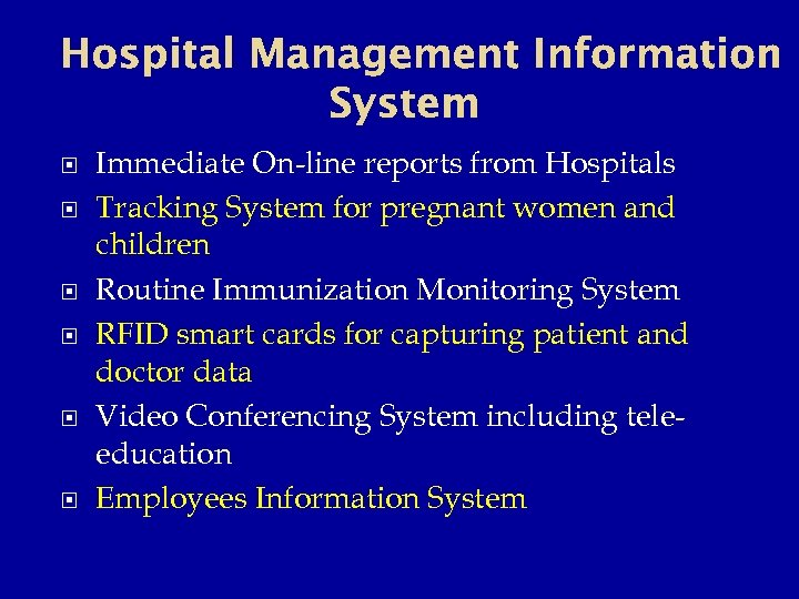 Hospital Management Information System Immediate On-line reports from Hospitals Tracking System for pregnant women