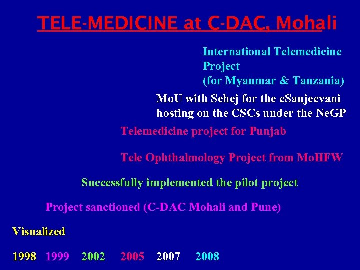 TELE-MEDICINE at C-DAC, Mohali International Telemedicine Project (for Myanmar & Tanzania) Mo. U with