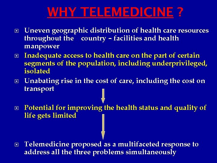 WHY TELEMEDICINE ? Uneven geographic distribution of health care resources throughout the country –