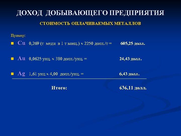 ДОХОД ДОБЫВАЮЩЕГО ПРЕДПРИЯТИЯ СТОИМОСТЬ ОПЛАЧИВАЕМЫХ МЕТАЛЛОВ Пример: n Cu 0, 269 (т меди в