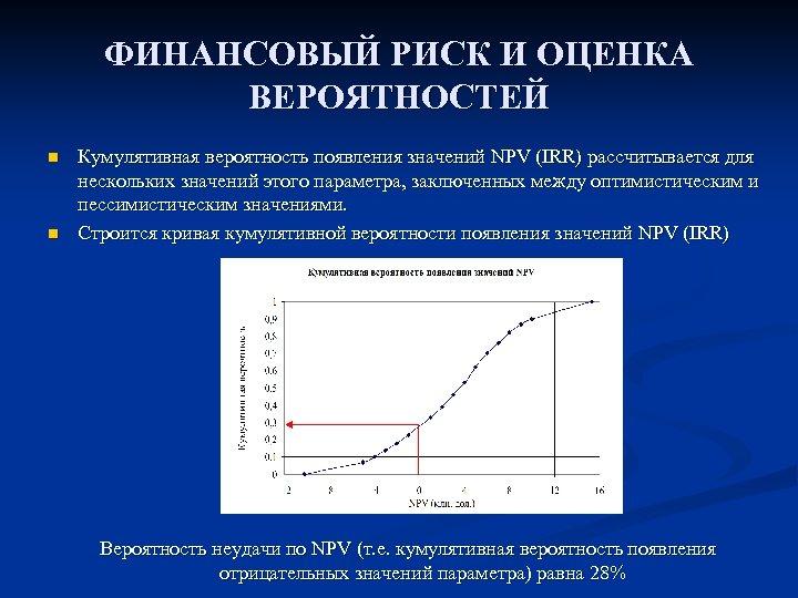 ФИНАНСОВЫЙ РИСК И ОЦЕНКА ВЕРОЯТНОСТЕЙ n n Кумулятивная вероятность появления значений NPV (IRR) рассчитывается
