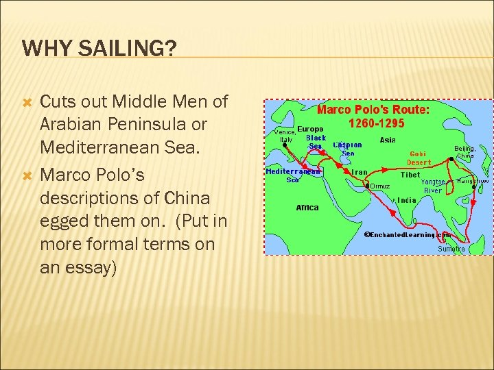 WHY SAILING? Cuts out Middle Men of Arabian Peninsula or Mediterranean Sea. Marco Polo's