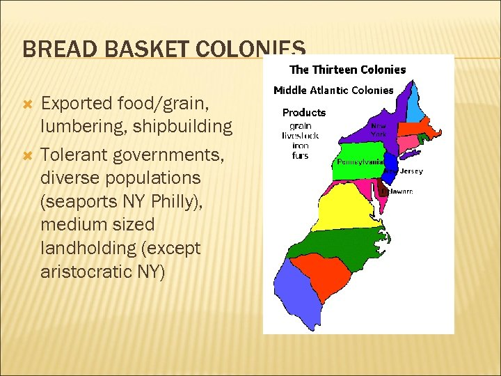 BREAD BASKET COLONIES Exported food/grain, lumbering, shipbuilding Tolerant governments, diverse populations (seaports NY Philly),