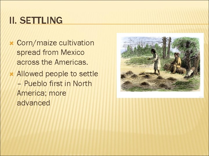 II. SETTLING Corn/maize cultivation spread from Mexico across the Americas. Allowed people to settle