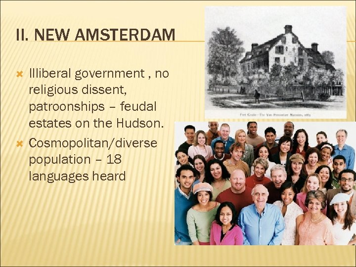 II. NEW AMSTERDAM Illiberal government , no religious dissent, patroonships – feudal estates on