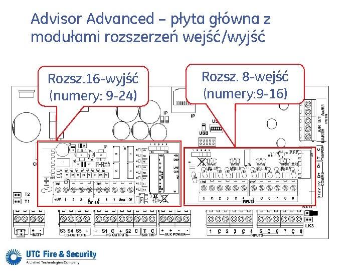 Advisor Advanced – płyta główna z modułami rozszerzeń wejść/wyjść Rozsz. 16 -wyjść (numery: 9