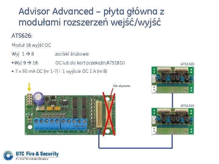Advisor Advanced – płyta główna z modułami rozszerzeń wejść/wyjść ATS 626: Moduł 16 wyjść