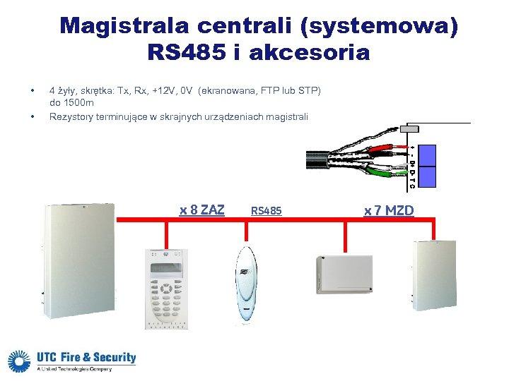 Magistrala centrali (systemowa) RS 485 i akcesoria • • 4 żyły, skrętka: Tx, Rx,