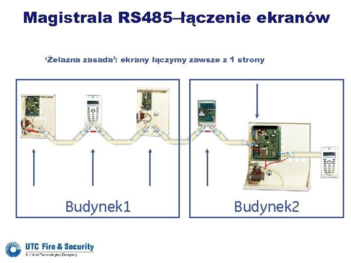 Magistrala RS 485–łączenie ekranów 'Żelazna zasada': ekrany łączymy zawsze z 1 strony Budynek 1