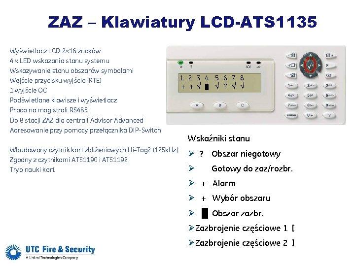 ZAZ – Klawiatury LCD-ATS 1135 Wyświetlacz LCD 2 x 16 znaków 4 x LED