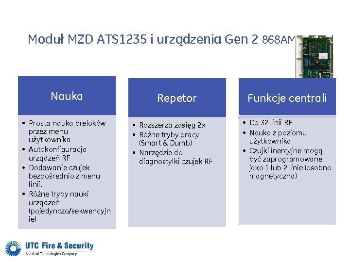 Moduł MZD ATS 1235 i urządzenia Gen 2 868 AM Nauka • Prosta nauka