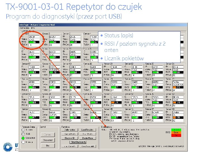 TX-9001 -03 -01 Repetytor do czujek Program do diagnostyki (przez port USB) • Status