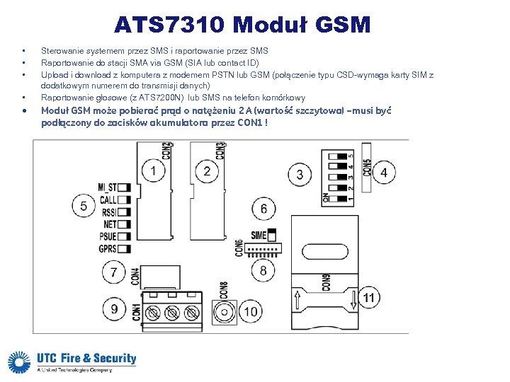 ATS 7310 Moduł GSM • • • Sterowanie systemem przez SMS i raportowanie przez