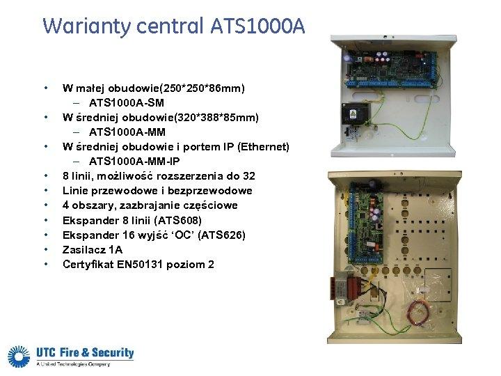 Warianty central ATS 1000 A • • • W małej obudowie(250*86 mm) – ATS