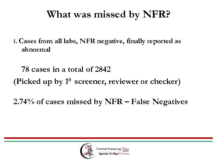 What was missed by NFR? 1. Cases from all labs, NFR negative, finally reported