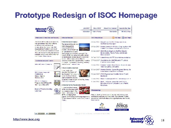 Prototype Redesign of ISOC Homepage http: //www. isoc. org 18