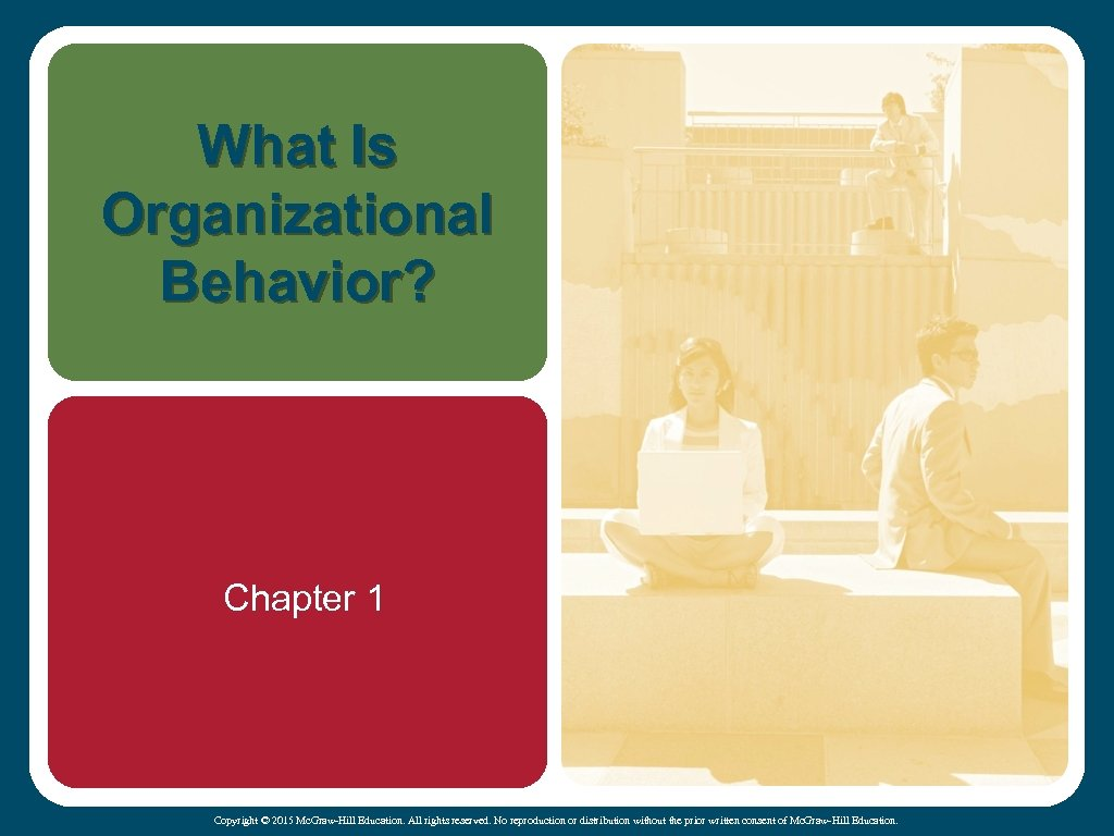 What Is Organizational Behavior? Chapter 1 Copyright © 2015 Mc. Graw-Hill Education. All rights