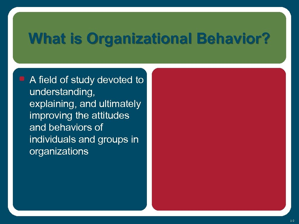 What is Organizational Behavior? • A field of study devoted to understanding, explaining, and