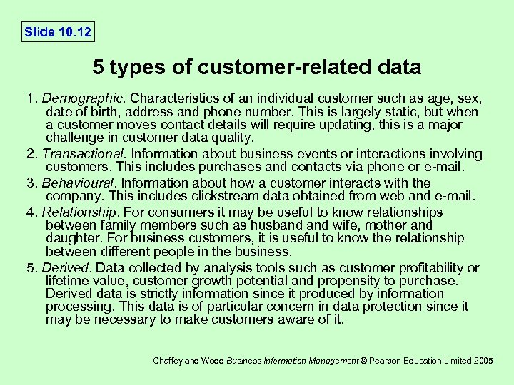 Slide 10. 12 5 types of customer-related data 1. Demographic. Characteristics of an individual