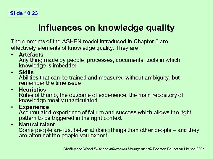 Slide 10. 23 Influences on knowledge quality The elements of the ASHEN model introduced