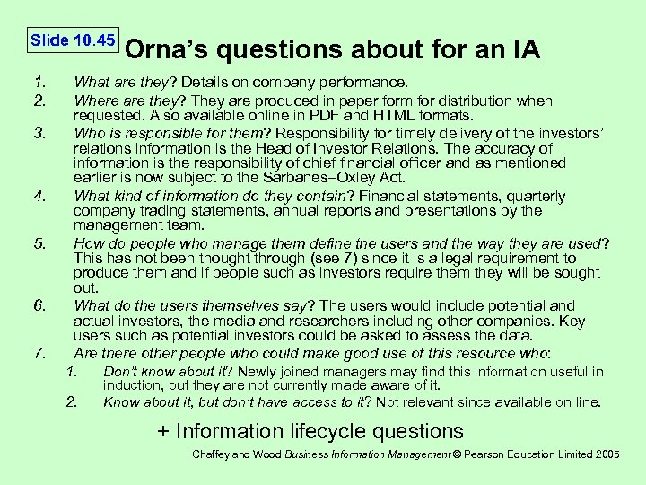 Slide 10. 45 1. 2. 3. 4. 5. 6. 7. Orna's questions about for