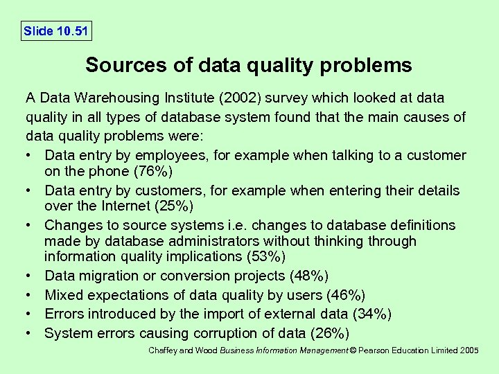 Slide 10. 51 Sources of data quality problems A Data Warehousing Institute (2002) survey