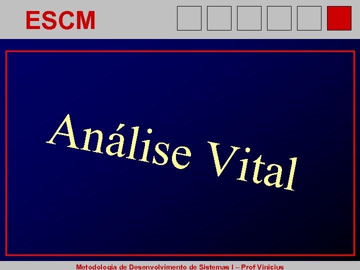 ESCM Análise Vital Metodologia de Desenvolvimento de Sistemas I – Prof Vinicius