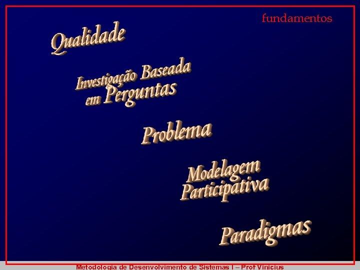 fundamentos Metodologia de Desenvolvimento de Sistemas I – Prof Vinicius