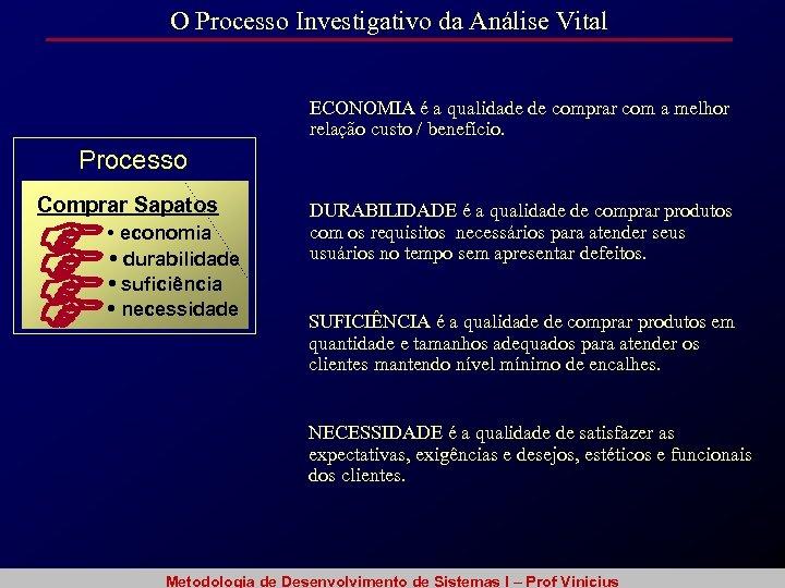 O Processo Investigativo da Análise Vital ECONOMIA é a qualidade de comprar com a