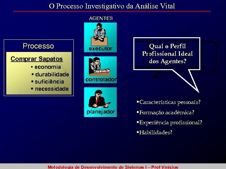 O Processo Investigativo da Análise Vital AGENTES Processo executor Comprar Sapatos • economia •