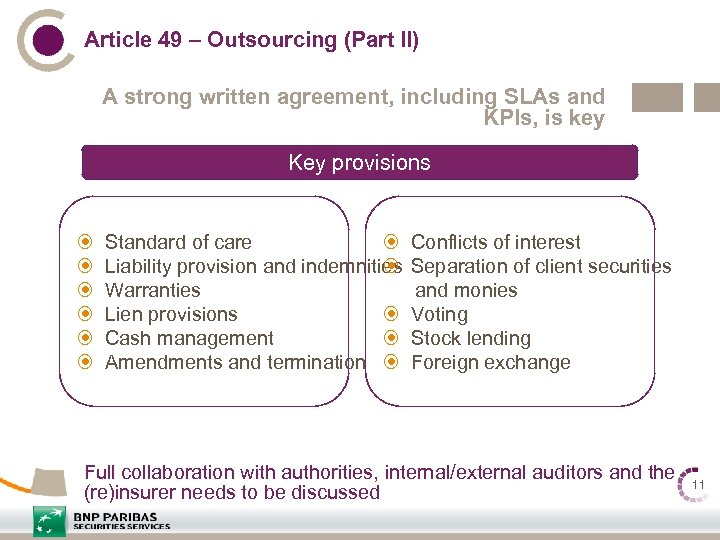 Article 49 – Outsourcing (Part II) A strong written agreement, including SLAs and KPIs,