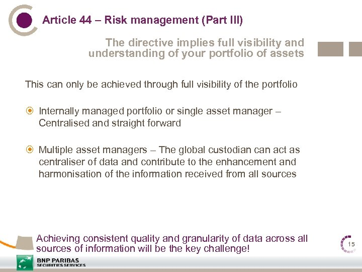 Article 44 – Risk management (Part III) The directive implies full visibility and understanding