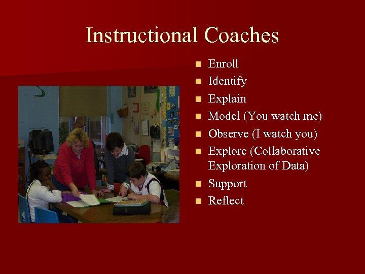 Instructional Coaches n n n n Enroll Identify Explain Model (You watch me) Observe