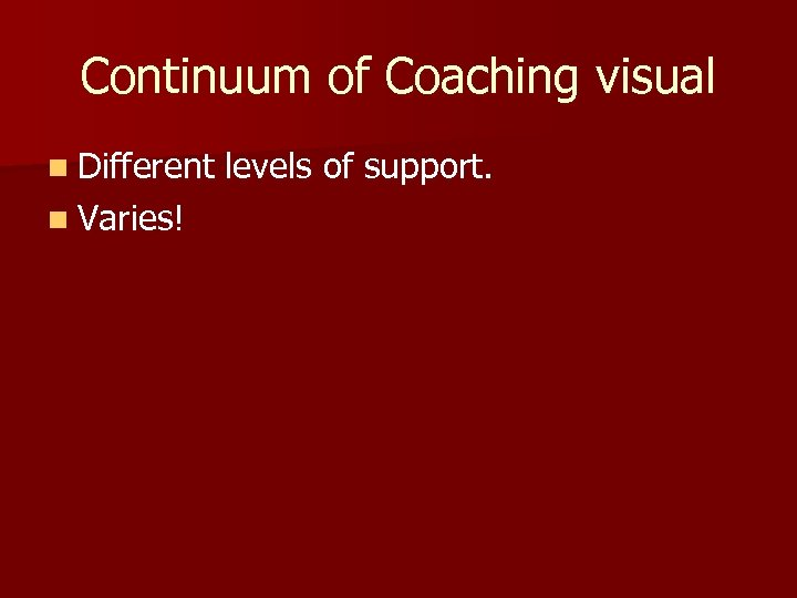 Continuum of Coaching visual n Different n Varies! levels of support.