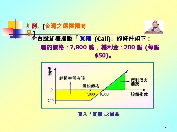 例、 [台灣之選擇權商 品] 台股加權指數「 買權 (Call)」的條件如下: 履約價格: 7, 800 點, 權利金: 200 點
