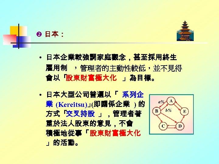 日本: • 日本企業較強調家庭觀念,甚至採用終生 雇用制 ,管理者的主動性較低,並不見得 會以「 股東財富極大化 」為目標。 • 日本大型公司普遍以「 系列企 業 (Kereitsu)」