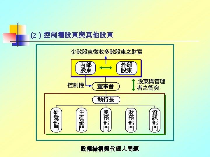 ( 2)控制權股東與其他股東 股權結構與代理人問題