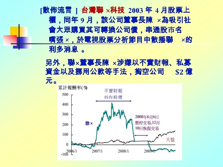 [散佈流言 ] 台灣聯 科技 2003 年 4 月股票上 櫃,同年 9 月,該公司董事長陳 ×為吸引社 會大眾購買其可轉換公司債,串通股市名 嘴張