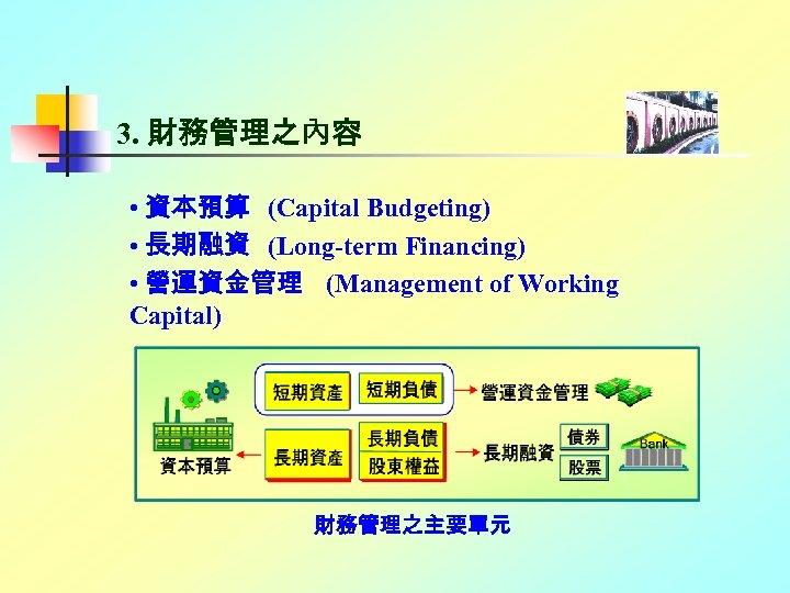 3. 財務管理之內容 • 資本預算 (Capital Budgeting) • 長期融資 (Long-term Financing) • 營運資金管理 (Management of