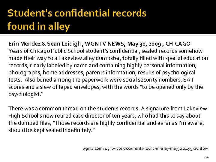 Student's confidential records found in alley Erin Mendez & Sean Leidigh , WGNTV NEWS,