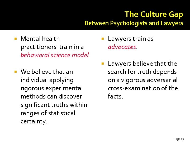 The Culture Gap Between Psychologists and Lawyers Mental health practitioners train in a behavioral