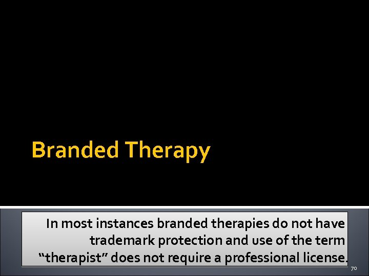 Branded Therapy In most instances branded therapies do not have trademark protection and use