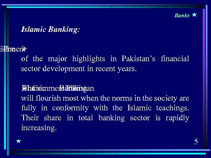 Banks Islamic Banking: ishment The Ø of the major highlights in Pakistan's financial sector