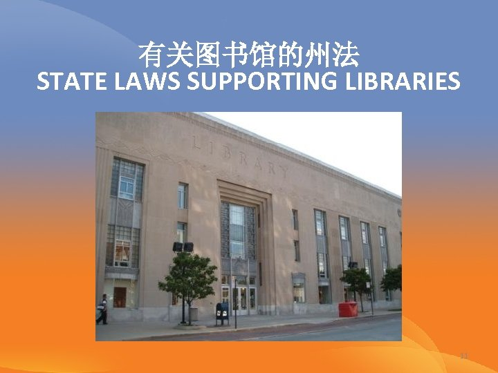 有关图书馆的州法 STATE LAWS SUPPORTING LIBRARIES 11