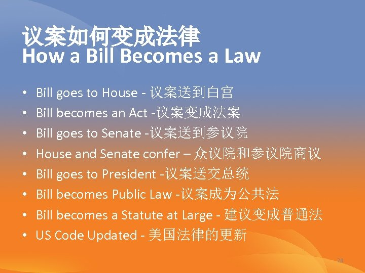 议案如何变成法律 How a Bill Becomes a Law • • Bill goes to House -