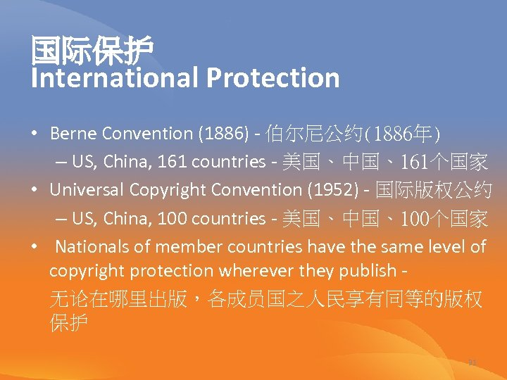 国际保护 International Protection • Berne Convention (1886) - 伯尔尼公约(1886年) – US, China, 161 countries
