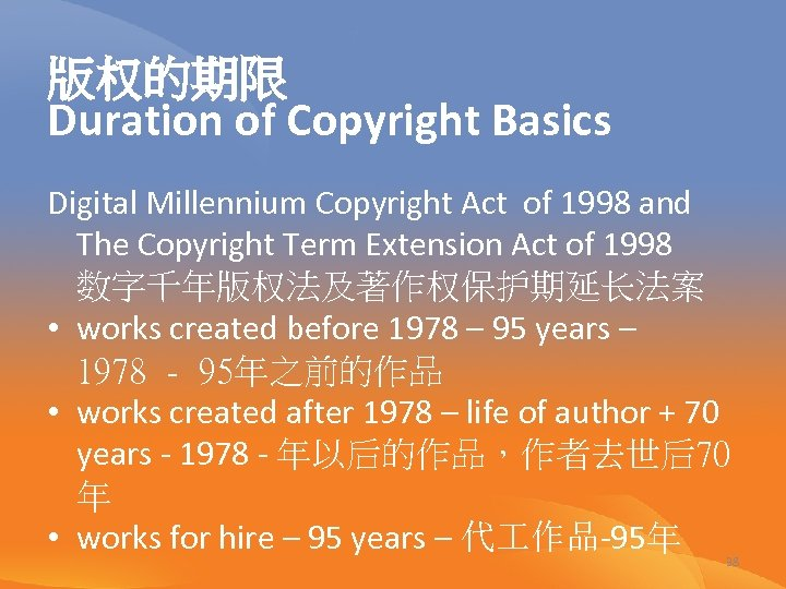 版权的期限 Duration of Copyright Basics Digital Millennium Copyright Act of 1998 and The Copyright