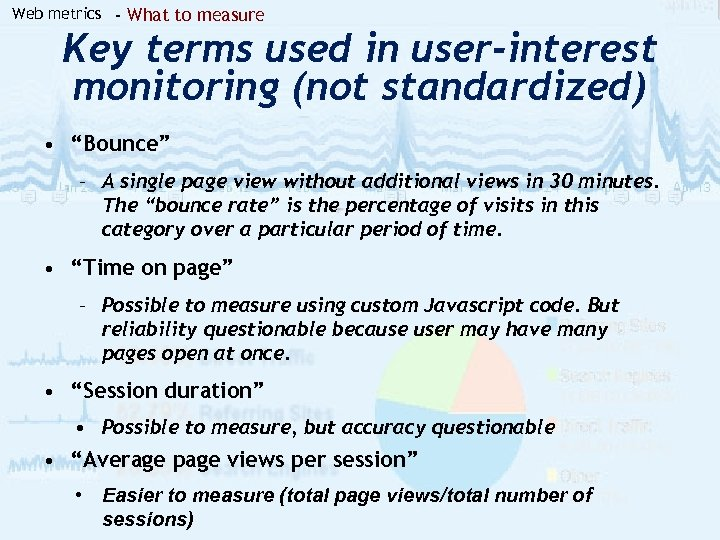 Web metrics - What to measure Key terms used in user-interest monitoring (not standardized)